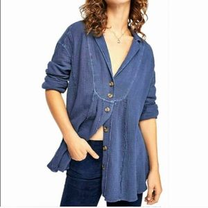 Free People Navy blue All the Feels button up top